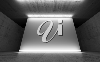 Abstract concrete interior background with empty white banner and neon lights, front view. 3d illustration