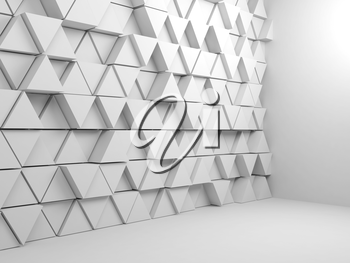 Abstract empty white interior background with triangular pattern installation, 3d render illustration