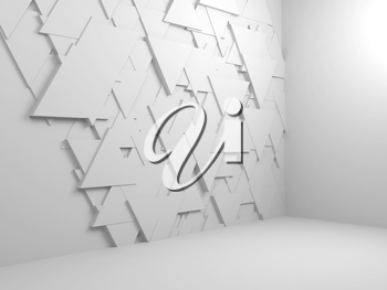 Abstract empty white interior background with random triangles tiling pattern on wall, 3d render illustration