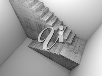 Top view of a concrete stairway installation in white empty room, abstract architectural background, 3d render illustration