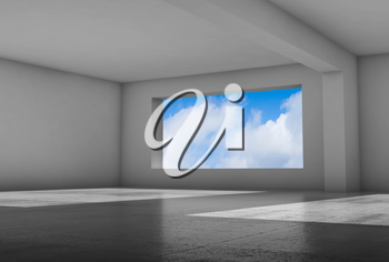 Empty white room with wide window and shiny concrete floor, abstract interior background, 3d illustration