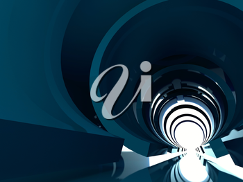 Abstract shining tunnel interior with bright reflections. Digital background, 3d illustration