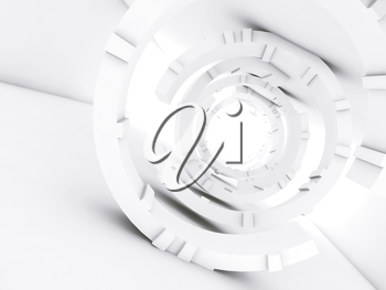 Abstract white interior, with tunnel of rings, futuristic digital background, 3d render