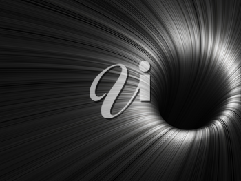 Abstract digital background, black tunnel with pattern of glowing lines, 3d render illustration