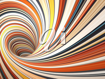 Abstract digital graphic background, colorful empty twisted bent tunnel, 3d render illustration