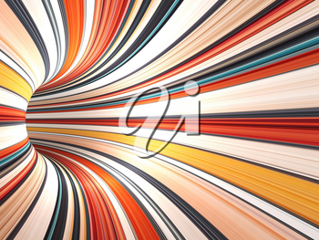 Abstract colorful digital background, empty bent tunnel perspective, 3d render illustration