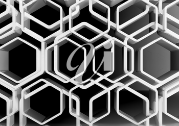 Abstract white honeycomb ornamental background, 3d illustration
