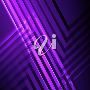 Abstract purple square digital background, geometric pattern with intersected glowing stripes. 3d render illustration