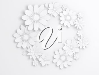 White paper flowers, wreath decoration, bridal greeting card, ornamental background. Digital 3d render illustration