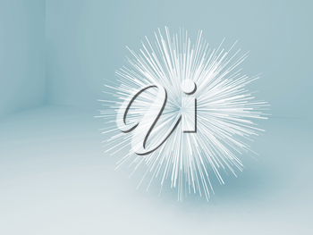 Abstract star shaped white object in blue empty room interior, 3d render