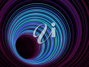Abstract digital background, tunnel of glowing colorful rings, 3d illustration