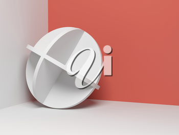 Abstract white object stands in a corner of empty room, 3d render illustration