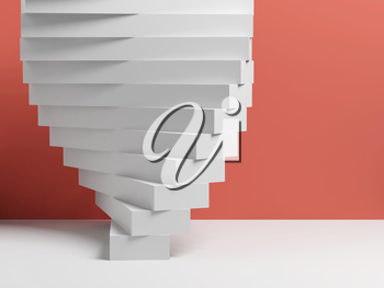 Abstract white parametric installation of boxes over pink wall background, 3d render illustration