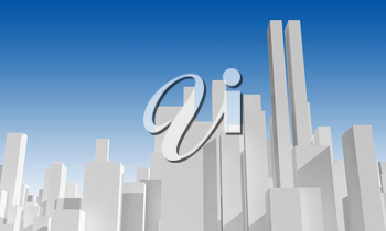 Abstract city skyline under blue sky. Digital model with geometric primitive skyscrapers, 3d rendering illustration