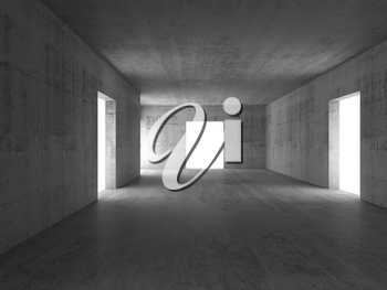 Abstract empty concrete corridor interior with glowing white doors. 3d rendering illustration