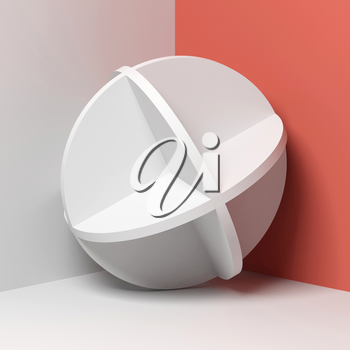 Abstract white round object stands in a corner of empty room, square 3d rendering illustration