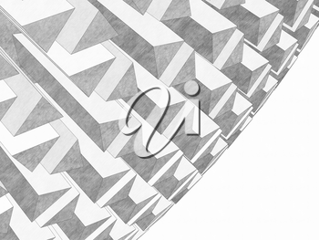 Abstract white graphic background with round structure and blank copy-space area on the right side. Graphite pencil stylized 3d rendering illustration