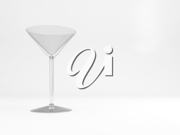 Empty standard cocktail glass with soft shadow stands over white background, 3d rendering illustration