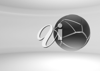 Abstract black flying sphere with chaotic fragmentation is in an empty white room, 3d rendering illustration