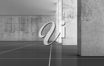 Abstract empty concrete interior background with columns and black floor, 3d rendering illustration