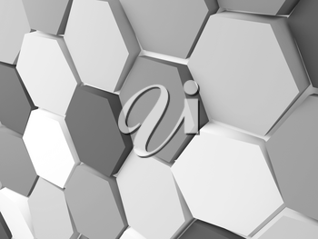 Abstract background pattern with gray white hexagonal blocks. 3d rendering illustration