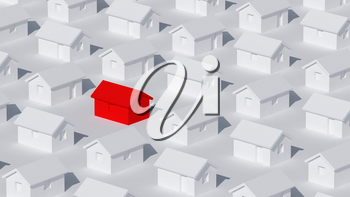 A block of typical small white rural houses with one red in between, self-isolation at home and quarantine abstract cgi representation, 3d rendering illustration