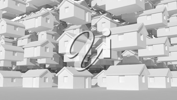 3d array of small white houses, futuristic town block abstract cgi representation, 3d rendering illustration