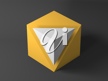 Abstract minimal installation, yellow cube with white pyramid shaped corner. 3d rendering illustration