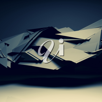 Abstract dark digital background, interior with chaotic polygonal structure, 3d render illustration