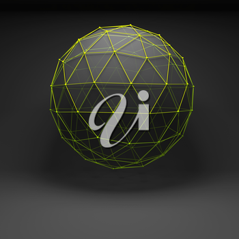 Abstract polygonal spherical object with green lattice wire-frame mesh, 3d render illustration