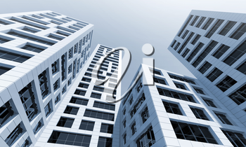 Abstract modern architecture. Perspective of tall office towers under blue sky. 3d render illustration