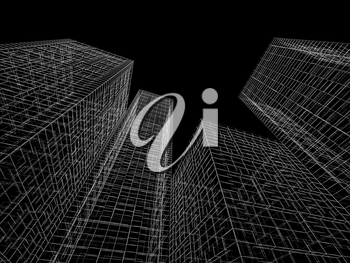 Abstract digital graphic background. Modern buildings perspective. White wire frame lines over black background. 3d render illustration