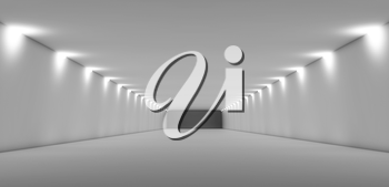 Abstract long empty white tunnel interior with soft lights. Digital 3d illustration