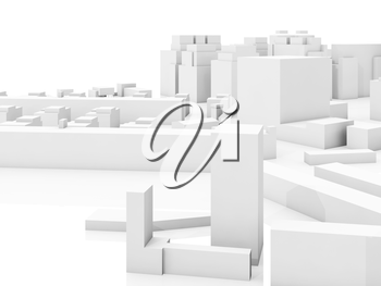 Abstract contemporary cityscape, 3d illustration over white background with soft reflections over empty ground