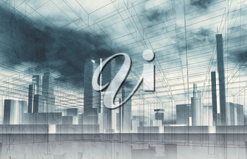 Abstract contemporary city background. Cityscape skyline, dramatic sky and wire frame lines pattern layer. Blue toned digital 3d render illustration