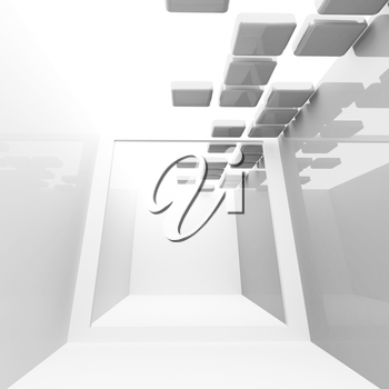 White abstract empty corridor interior with ceiling decoration. Square 3d illustration