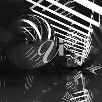 Abstract square digital background, black tunnel with neon lights and mirror ball, 3d illustration