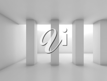 Abstract white room with columns, blank 3 d interior background, 3d illustration