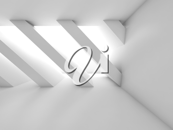 Abstract white empty room, group of diagonal columns, blank interior background, 3d illustration