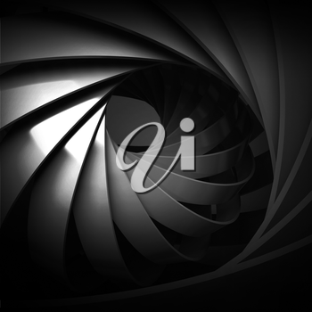 Abstract square digital background, black spiral structure, 3d illustration
