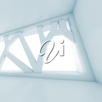 Abstract empty interior background with big futuristic window. Square blue toned digital 3d illustration