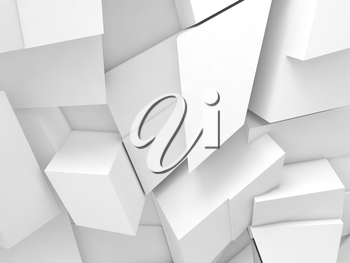 Abstract digital background, white chaotic fragments pattern, 3d render illustration
