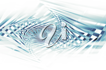 Abstract blue spirals pattern over white background, optical illusion, 3d illustration
