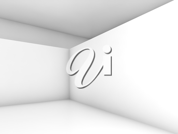 Abstract white room interior, contemporary minimal design. 3d render illustration with soft shadows