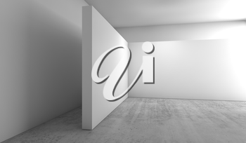 Abstract empty white interior background, corner of blank white banners installation on concrete floor, contemporary architecture design. 3d illustration