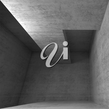 Abstract empty concrete interior ceiling construction, 3d illustration