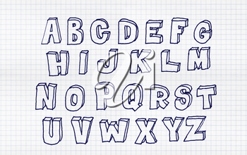 Hand drawn abc, doodle style. Blue letters over white squared paper background, sketch illustration