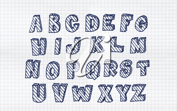 Hand drawn volumetric abc with hatching, doodle style. Blue letters over white squared paper background, sketch illustration