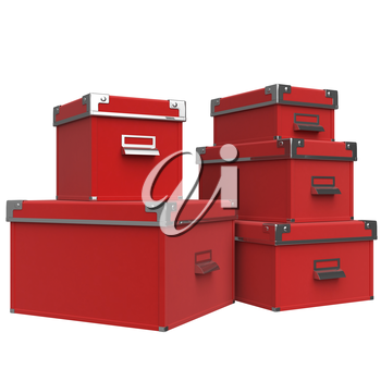 Boxes on each other with closed lids and metal handles. 3D graphic object on white background isolated