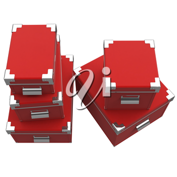 Boxes are arranged on one another, shiny chrome. Metal corners with rivets. Chrome handles. 3D graphic object on white background isolated